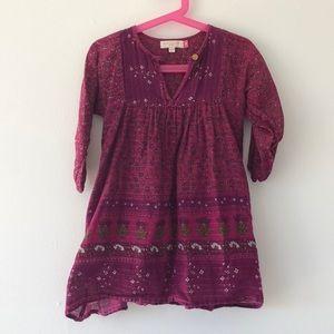 Burgundy Girl's Boho-style dress